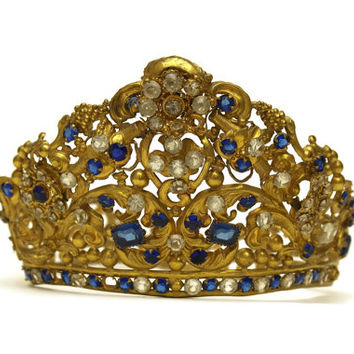 Antique Crown. Mary Statue Crown. Antique Wedding Tiara. 19th Century Antique French Tiara. Faux Sapphire Tiara.