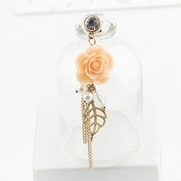 Earphone Jack Accessory Plated Gold Orange Pink Flower Golden Leaves Tassel Chain Beads Crystal Pearls / Dust Plug / Ear Jack