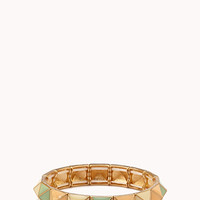 FOREVER 21 Colorblocked Pyramid Bracelet Cream/Mint One