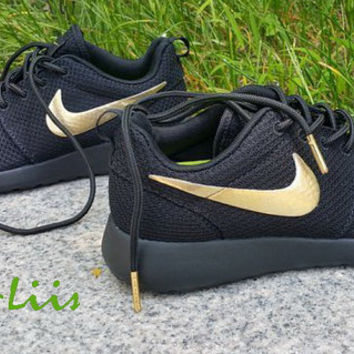 9d8599ee03c5 Custom Nike Roshe Run athletic running shoes Black with Gold Line