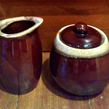 Vintage Brown Drip Pottery Sugar Bowl and Creamer Set, Mismatched Hull and McCoy Brown Drip