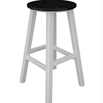 2 Bar Stools - Black With White Legs