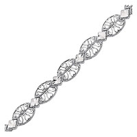 14K White Gold Antique Vintage Look Filigree Oval Link Bracelet