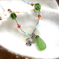 Sea Turtle Anklet Hawaiian jewelry Green Honu Ankle Bracelet with seaglass jewelry made in Hawaii sea turtle jewelry