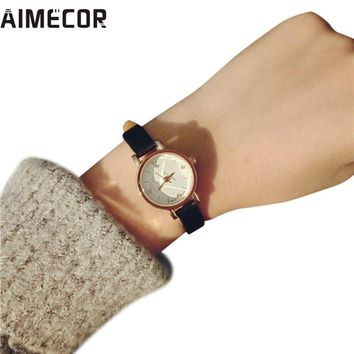 Aimecor NEW women watch small dial Simple Retro Girls Watch Dial Female Table Belt Casual Wave relojes mujer women watches