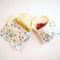Organic Cotton Sandwich and Snack Bags, Reusable, Eco Friendly - Blue Butterflies - Set of 2 - Back to School