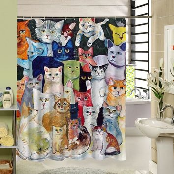 Cute Cat Shower Curtain Custom Cartoon Pattern 3d Print Bathroom Curtain for Kids Waterproof Polyester Fabric Liner