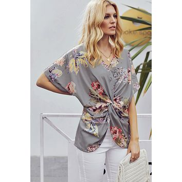 Gray Amaryllis Floral Twist Blouse Top