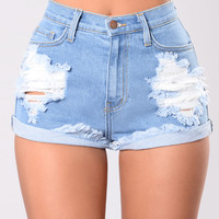 Longest Summer Denim Shorts - Medium Blue