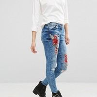 Parisian Rose Embroidered Skinny Jeans at asos.com