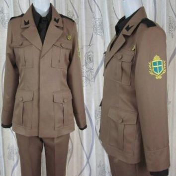Axis Powers Hetalia 2p Italy Cosplay Costume Including Hat+shirt+pants+coat+belt