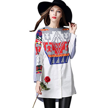 Women Fashion Knitted Long Shirt Dress