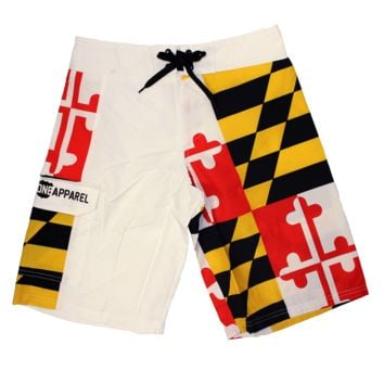 Maryland Flag (White) / Board Shorts