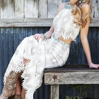 Long Ivory Two Piece High Neck Gown by Sherri Hill