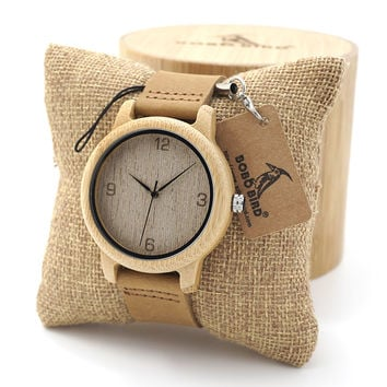 BOBO BIRD Womens Casual Antique Round Bamboo Wooden Watches With Leather Strap Lady Watches Top Brand Luxury Wrist Watch