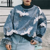Korobov 2018 Auttum Womens Hoodies Flare Sleeve Harakuju Hoodie Sweatshirt Jumper Hooded Loose Pullover Striped Tops 75537