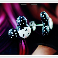 Tiny Goth Girl Stud Earrings - black dotted hand painted earrings