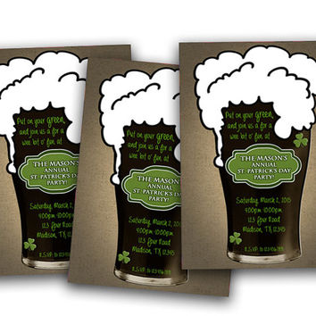 St. Patricks Day Invitation - Guys Birthday Invitations -  Pub Crawl St Paddy Day Party - ale - stout - adult birthday - bar hop luck irish