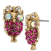 Betsey Johnson Crystallized Owl Stud Earrings