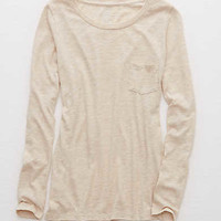 Aerie Real Soft® Long Sleeve Tee, Heather Fawn