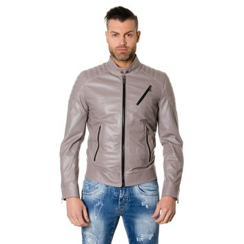 Men's Leather Jacket quilted yoke perfecto grey color U411