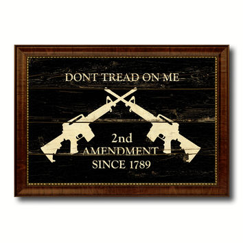 2nd Amendment Dont Tread On Me M4 Rifle Military Flag Vintage Canvas Print with Brown Picture Frame Gifts Ideas Home Decor Wall Art Decoration