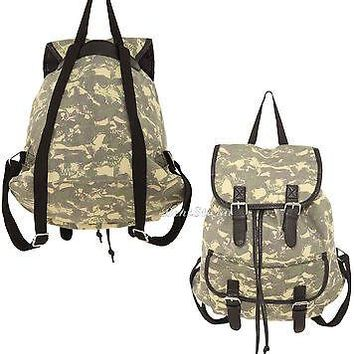 Licensed cool NEW CAMO CAMOUFLAGE SKULLS Slouch Buckle Book Bag Backpack for School Hot Topic