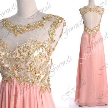 Peach Pink Prom Dresses, Peach Pink Formal Gown, Straps Lace/ Crystal Long Chiffon Prom Dresses with Open Back, Wedding Party Dresses