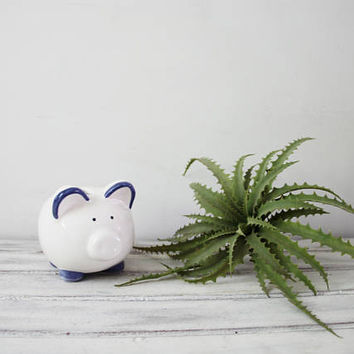 Vintage ceramic piggy bank, ceramic pig coin bank, vintage money bank, chubby, cheery ceramic piggy bank, early eighties