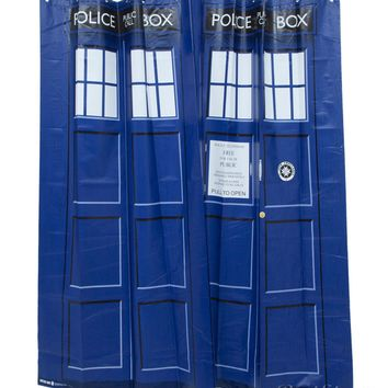 Licensed cool BBC DOCTOR DR WHO TARDIS BATHROOM SHOWER CURTAIN BLUE VINYL & 12 RINGS + BUTTON