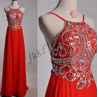 Long Red Crystal Beaded Prom Dresses,Backless Prom Dresses,Chiffon Evening Dresses,Ball Grown Party Dresses,Homecoming Dresses