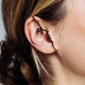 Abstract Art Geometric Portrait Ear Cuff