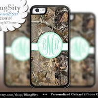 Camo Mint Monogram iPhone 5C 6 Plus Case iPhone 5s 4 case Ipod Realtree Personalized Country Inspired Girl