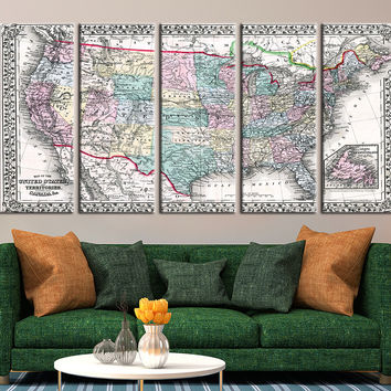 Map of the United States of America Canvas Art Print, United States Territories No:102