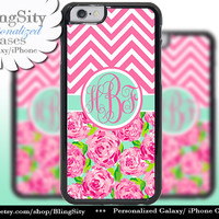 Monogram Hot Pink iPhone 5C 6 Case 6 Plus iPhone 5s 4 case Ipod 4 5 Touch Cover Floral Mint Chevron Personalized