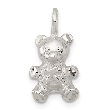 925 Sterling Silver Teddy Bear Charm and Pendant