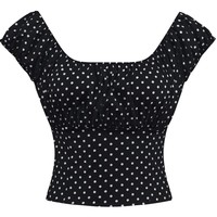 Black Polka dot Fitted Smock Peasant Top Pin-up Retro Vintage Style on off Shoulder