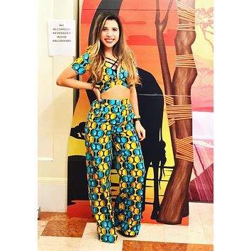 Legacy African Print Top And Wide Leg Pants Set