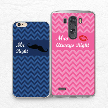 Mr. Right Mrs. Right, Couple case chevron phone case for iPhone 6/6s, Sony z3 compact, LG g4, HTC one M9 m8, Moto X Moto G, Valentines case