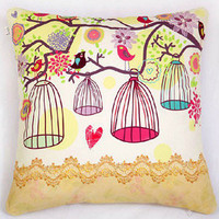 Bird Cage Throw Cushion Canvas Cover with Fillings