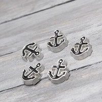 Anchor Charm, Locket Supplies, Floating Charm, Locket Charm, Living Locket,  Heart Locket, Charm Locket Necklace, Floating Necklace