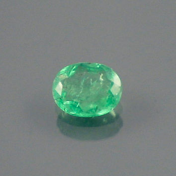 Emerald: 0.48ct Green Oval Shape Gemstone, Natural Hand Made Faceted Gem, Loose Precious Beryl Mineral, Engagement Ring Jewelry Making 20061