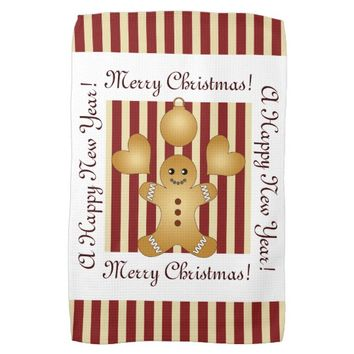 Cute Christmas Holiday Cookie Cartoon Kids Striped Towel
