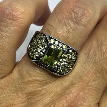 Start Your Holiday Shopping!!! Vintage Handmade Genuine Green Peridot Filigree Setting 925 Sterling Silver Gothic Ring