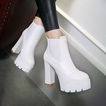 Ankle Boots for Women Platform High Heels Pu Leather Autumn Winter Round Toe Shoes Wom