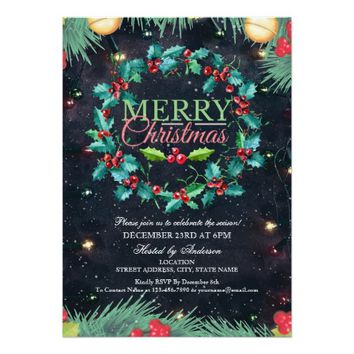 Watercolor Holly Wreath Christmas & New Year Party Card