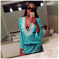 Beach Glam Turquoise and Silver Silk Kaftan