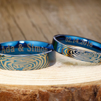 Your Actual Finger Print Rings, New His & Hers Mens Womens Matching Blue Titanium Wedding Bands Rings Set 6mm/4mm Wide Free Engraving