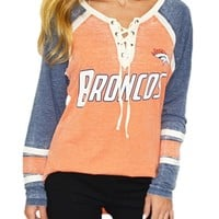 Denver Broncos Wideneck Lace Up Raglan | SportyThreads.com