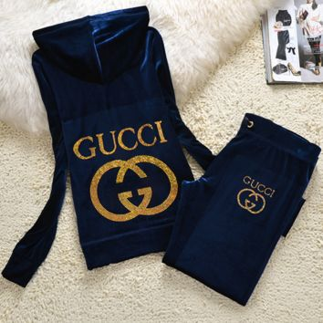 GUCCI New pleuche velvet casual wear tracksuit cultivate one's morality Coffee